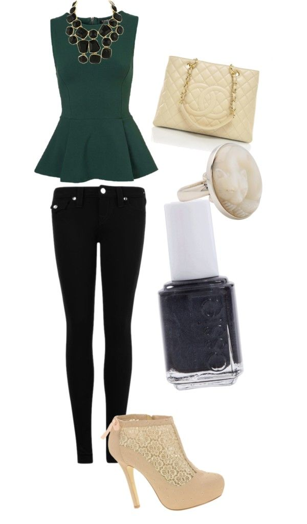 Emerald green top with black, cream, and gold accessories.