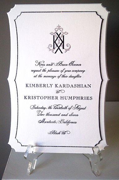 Kim Kardashian's wedding invitation