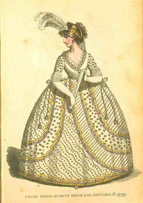 Fashions of London and Paris, Court Dress, January 18, 1799.: Birthday Fashion, Vintage Fashion, Fashion Plates, The Queen, Historical Fashion, 1700S, Queen Birthday, 1780 1790S Fashion, Court Dresses
