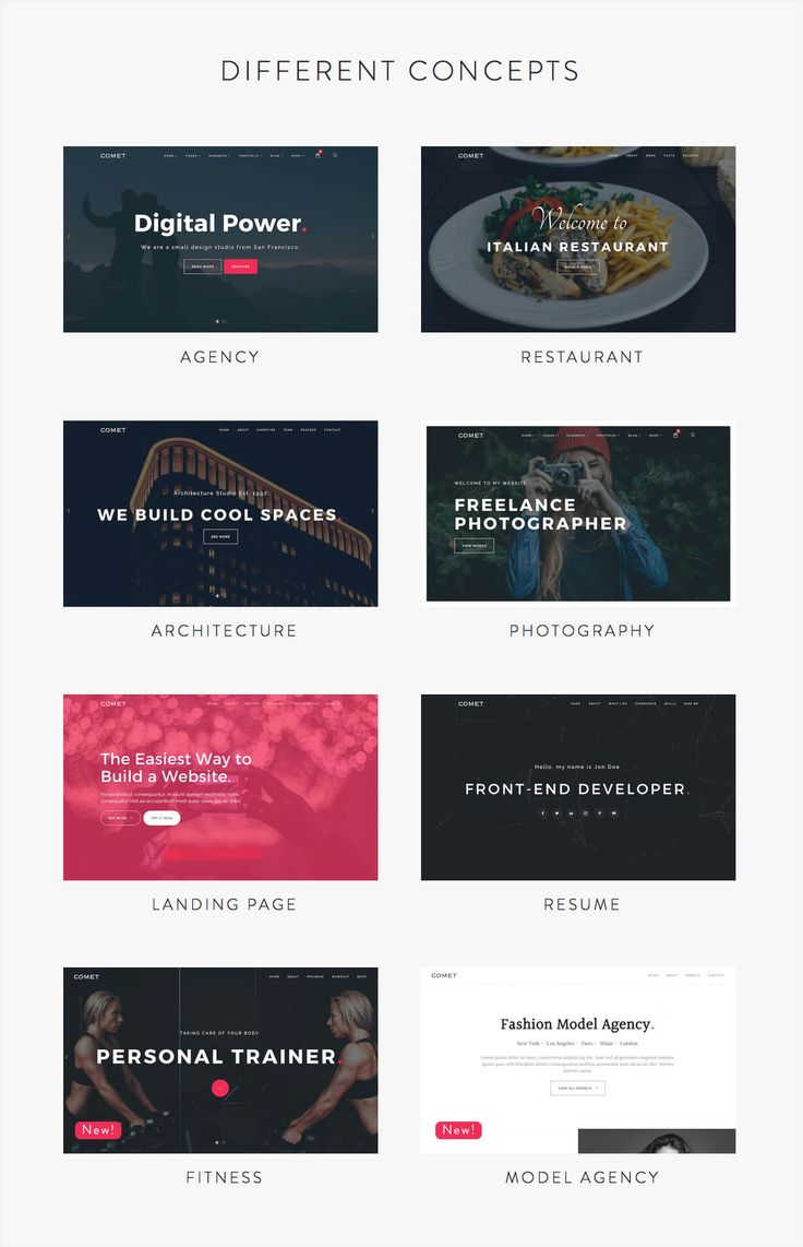 Main Features:      8 Different Concepts: Agency, Restaurant, Architecture, Resume, Landing Page, Photography, Fitness, Model Agency.    Fully Responsive.    Retina Ready    One Page & Mu...