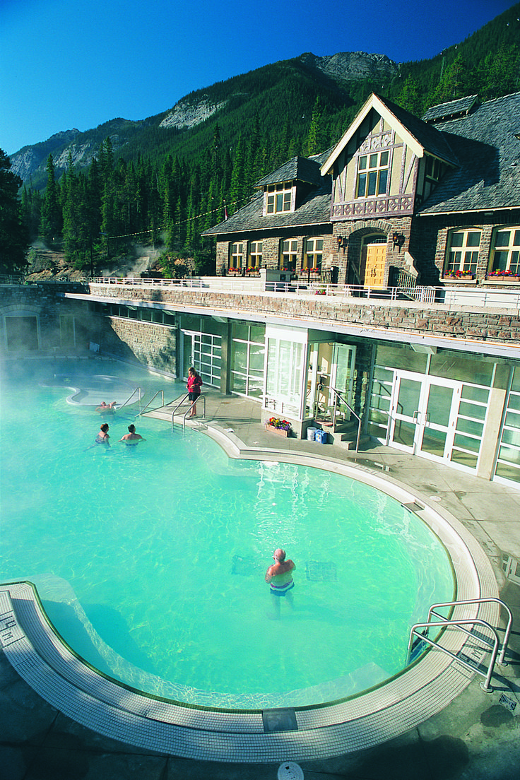 Banff Upper Hot Springs in Banff National Park. Historic Spa & Bathhouse.#ExploreAlberta #banff #hotsprings   www.hotsprings.ca