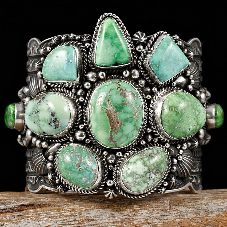 Cuff | Darryl Becenti (Navajo). Sterling silver with Carico Lake Turquoise