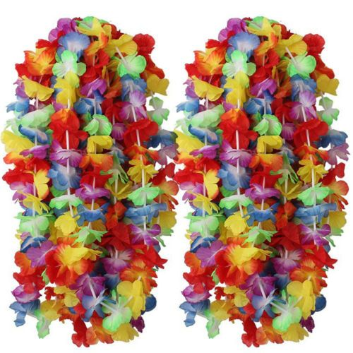 50-Collane-Hawaiane-Collana-Hawaiana-Fiori-Finti-Hawaii-Feste-festa-party-Tema