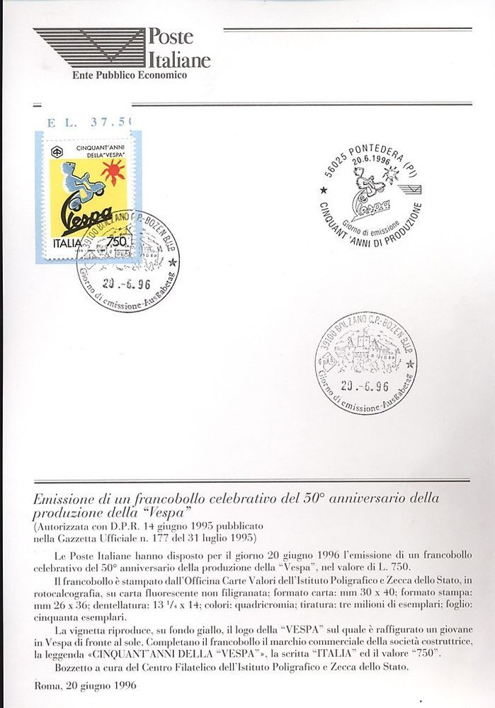 ITALIA 1996 50 ANNI VESPA   BOLLETTINO COMPLETO DI FRANCOBOLLI FDC