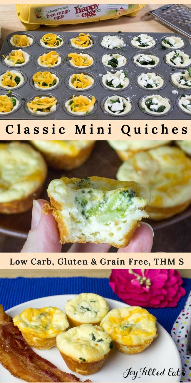 Classic Mini Quiches - Low Carb, Grain Free, THM S - These are a great grab-n-go breakfast or easy lunch. You can reheat them in seconds in the microwave as you run out the door. They also are great to pack for school lunches. With a basic dough and filling recipe, you can customize the add-ins to please your family's taste buds. @HappyEggCoUSA #ad