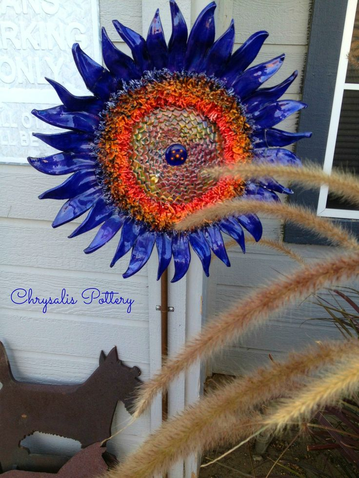 """Midnight Blue Sunflower"" by Chrysalis Pottery www.facebook.com/BarbJohnson.pottery"
