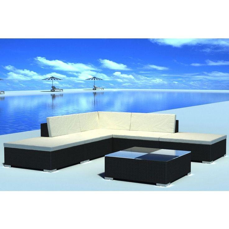 6Pc Outdoor Möbel Schnitt Pe Wicker Patio Rattan Sofa Set Couch Schwarz   – Stil