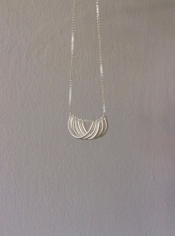 Shell silver necklace hand twisted coil 925 silver by EliaLaNoire