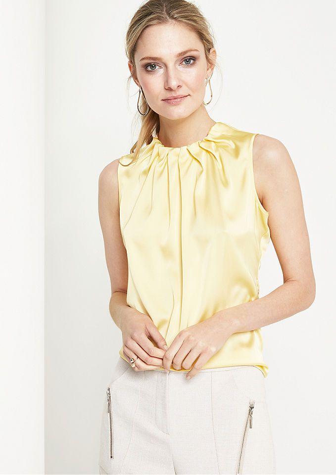 Comma Elegantes Satintop Mit Aufregenden Details Damenmode In Der Trendfarbe Gelb Egal Ob Gelbes Top Gelbes T Shirt Gelbe Gelbe Mode Gelbe Bluse Gelbe Hose