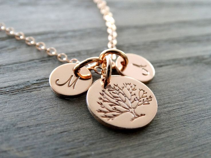 Tree of Life Necklace Family Tree Necklace Mother's Necklace Rose Gold Initial Charm Rose Gold Tree of life charm Tree Jewelry