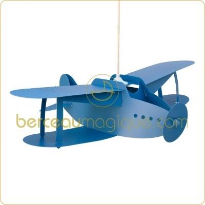 Suspension chambre garçon Avion biplan bleu   par  Rosemonde et Michel Coudert