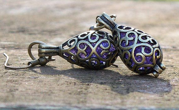 Recycled Amethyst Glass Bottle Earrings by bottledupdesigns, $24.00