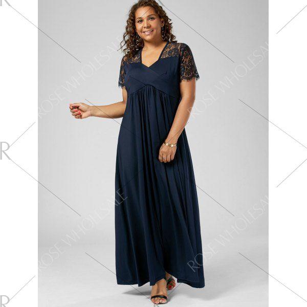 Wholesale V Neck Lace Trim Plus Size Formal Dress 2xl Purplish Blue Online. Cheap V Neck Lace Sheath Dress And Plus Size Black Sheath Dress on Rosewholesale.com