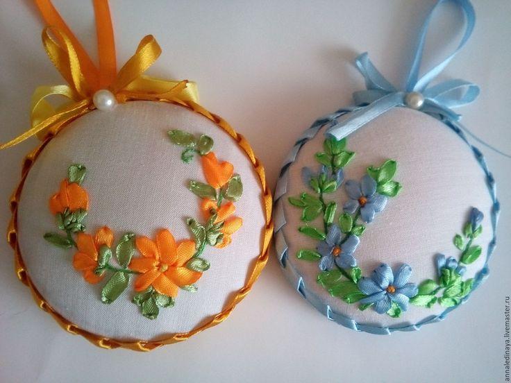 Купить игольницы вышитые лентами - оранжевый, календула, цветы вышитые, Вышивка лентами, игольница