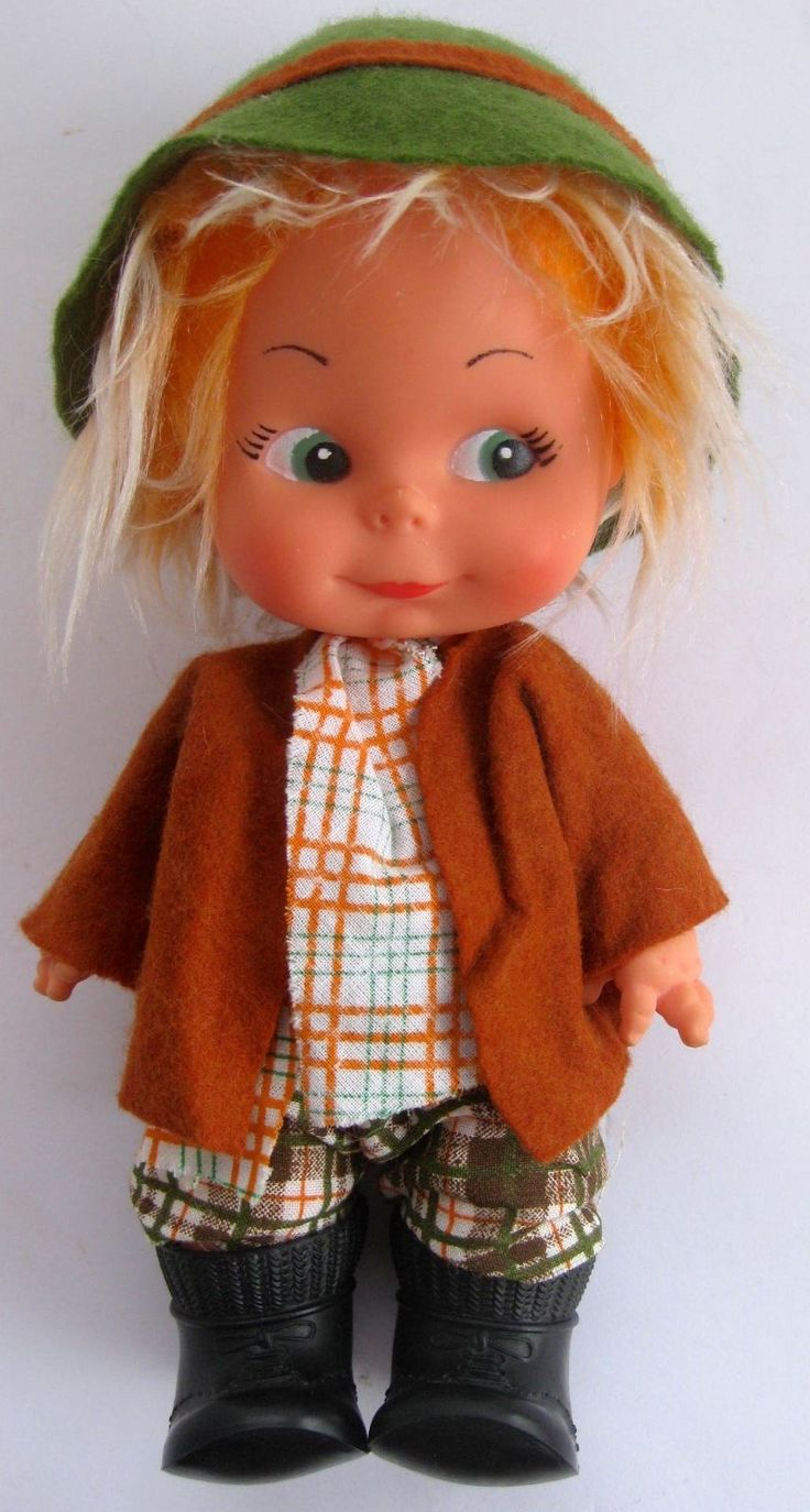 Italian farmer boy doll troll character Fiba 21 cm made in Italy retro vintage 3.99+4 listed