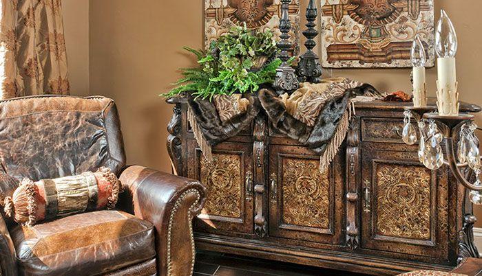 Tuscan style bureau, wall art, wood table & leather chair