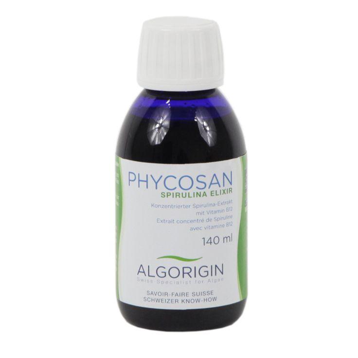 Phycosan Elixir de spiruline Algorigin, 140 ml. PhycoSan est un extrait aqueux de la spiruline qui présente une haute teneur en phycocyanine. C'est ce pigment protéiné qui participe au mécanisme et à l'augmentation du rendement de la photosynthèse.
