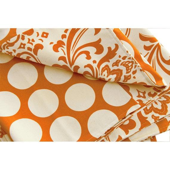 Orange Bed Scarf 25x82 Reversible Full by ChloeandOliveDotCom, $68.00