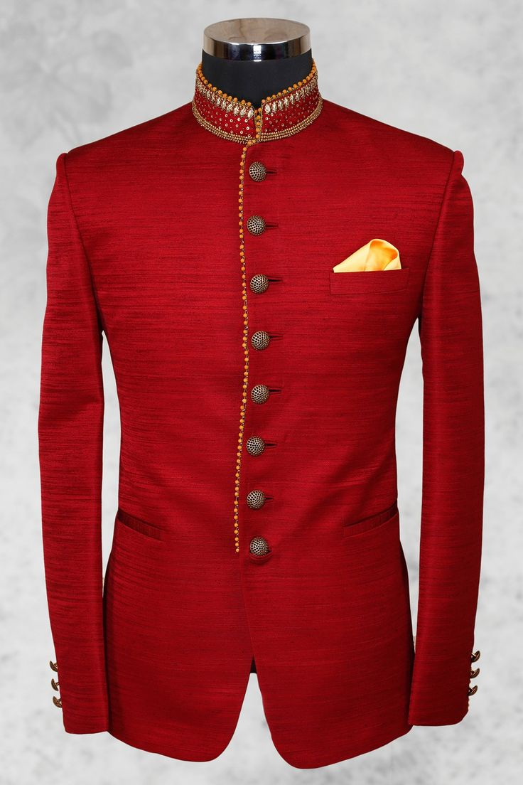 Bright #red fashionable #raw silk suit with bandhgala collar-ST492