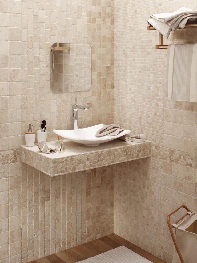 Mosaique Sol Et Mur Mineral Ivoire 10 X 10 Cm Artens Travertin Carrelage Travertin Et Salle De Bain Castorama