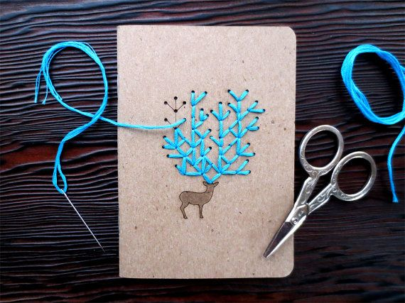 "DIY Embroidery ""Oh Deer"" Pocket Notebook Set of 2.... **deer stamp + floss+ sturdy paper = cute card"