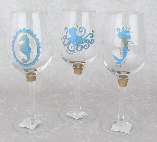 Beach Ocean Life Octopus Mermaid Seahorse-4 Wine Glass Set