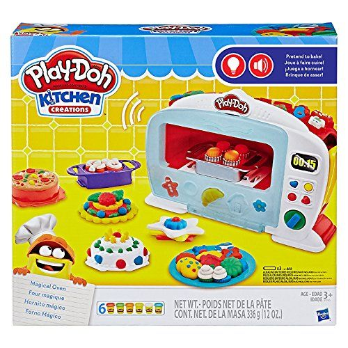 "See Play-Doh foods ""bake"" in the electronic Magical Oven Load pretend food and Play-Doh compound, then press the lever White light changes to red and oven makes Ding! sound when done ""baking""   toys4mykids.com"