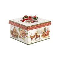 Villeroy & Boch, 'Christmas Toys' Шкатулка 'Рождественский рынок' средняя, квадратная, фарфор, 16x16x10 см