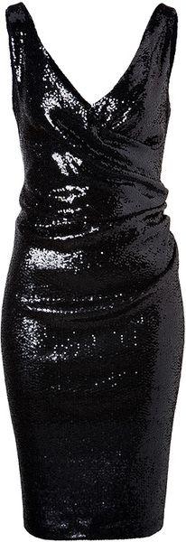 Sequined Dress in Black Donna Karan