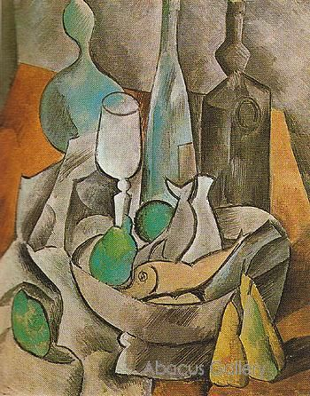 Pablo Picasso - Still Life with Fishes and Bottles 1909 Reproduction Oil Painting