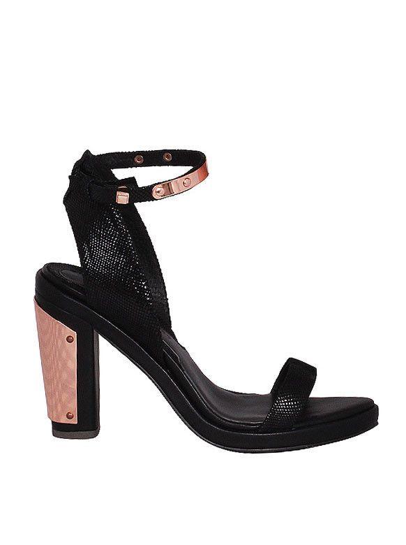 Mary & Me - GINGER & SMART - Naked Heart High Heel Sandal - Black Snake - Rose Gold Plates  $429.00