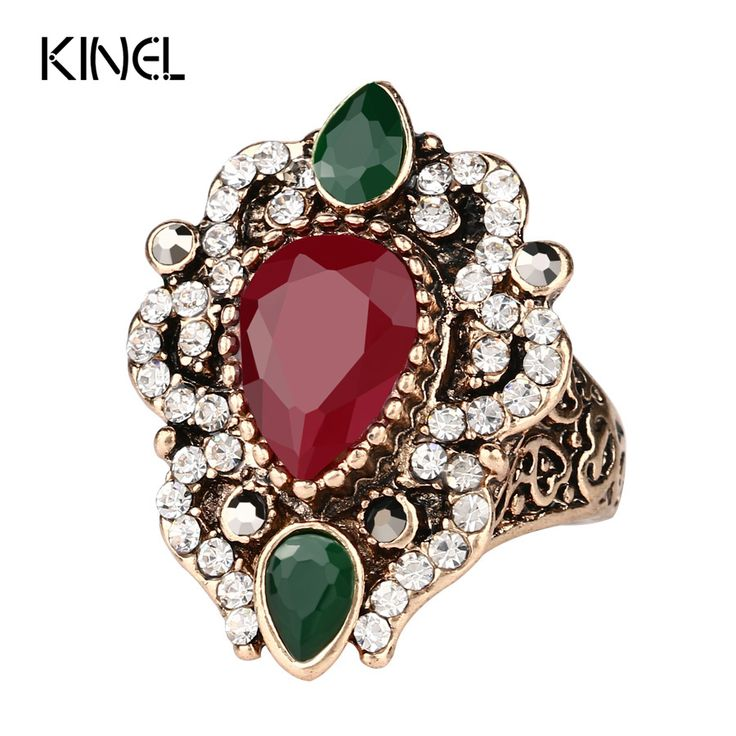 Turkey Jewelry Wholesale Vintage Rings For Women Plating Gold Mosaic AAA Crystal Engagement Party Accessories