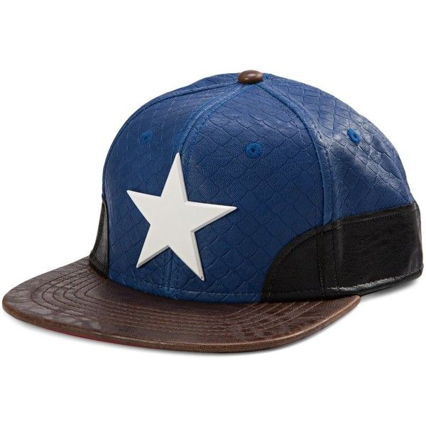 Marvel- Avengers- Captain America Snapback Metal Emblem Hat- Faux... ($22) ❤ liked on Polyvore featuring accessories, hats, metal snapback, snap back hats, faux leather snapback, metal hats and snapback hats