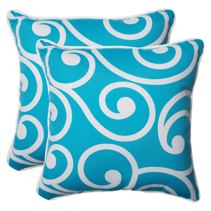 Pillow Perfect Best Outdoor 2-Piece Square Throw Pillow Set - Blue