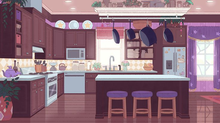 Here's another colored background for Bee and PuppyCat. It's Deckard's kitchen — complete with dragon cookie jar — courtesy of designer Hans, painter Lane, and art director Efrain.