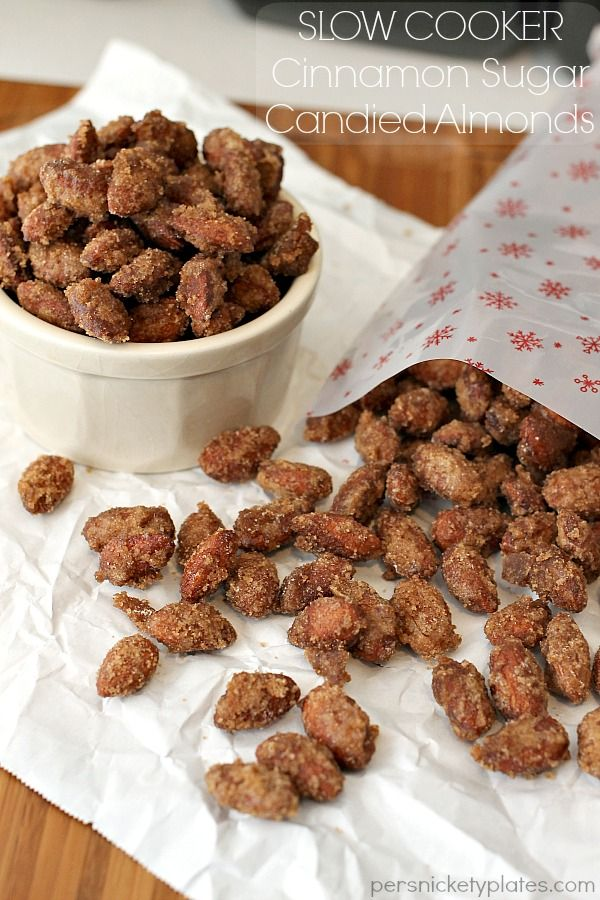 Slow Cooker Cinnamon Sugar Candied Almonds on MyRecipeMagic.com