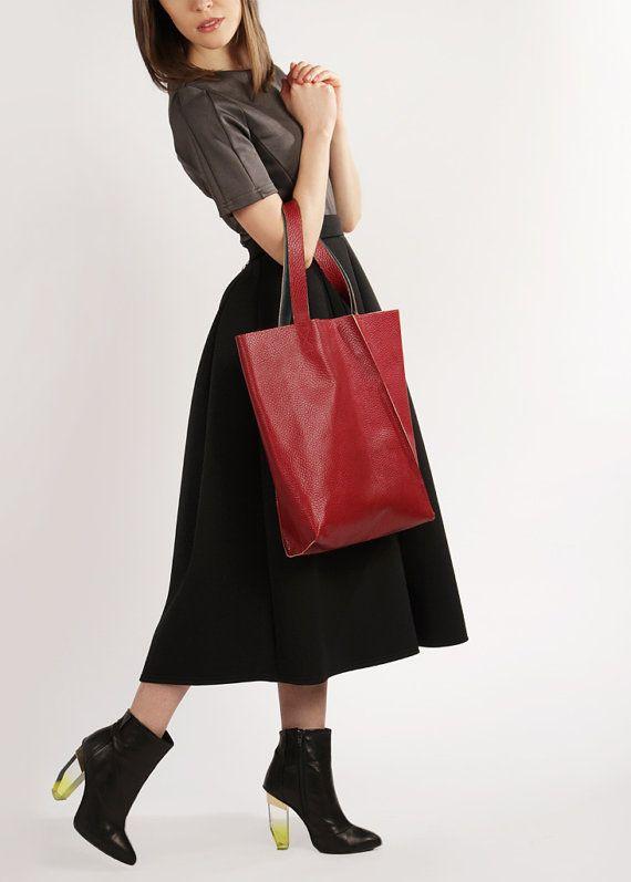 "Burgundy Leather Tote Bag ""Mary Ann Sangria"", Large Shopper Bag, Handmade Market Tote, Wholesale Handbag"