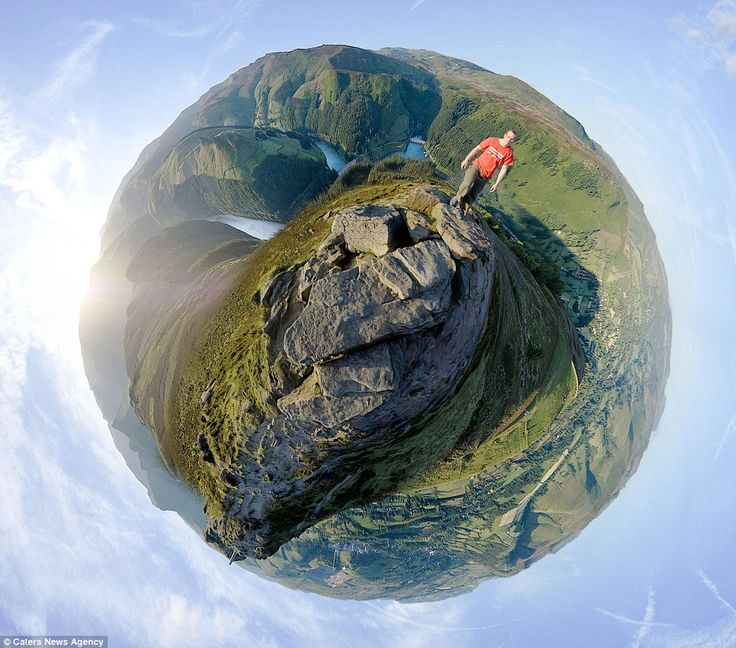 One of Dan Arkle's amazing 'little planet' photos. Pictured is Win Hill, Derbyshire with Lose Hill, Mam Tor and Kinder on the left