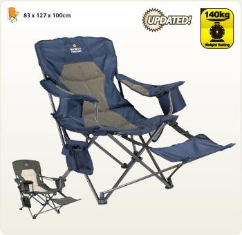 Camp Chair with footrest - Oztrail Monarch  | Camp Ovens, Camping Equipments, Coleman Camping, Camping Gear, Camping and Tents, Sleeping Bags,