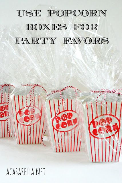 Use popcorn boxes for party favors!