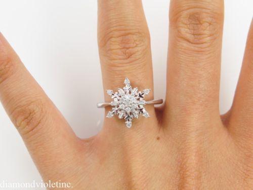 snowflake engagement ring   ... Vintage Diamond Snowflake Cluster Engagement Ring 14k White Gold