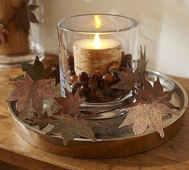 Patina Metal Leaves Vase Filler #potterybarn These would look great as part of an autumn door wreath
