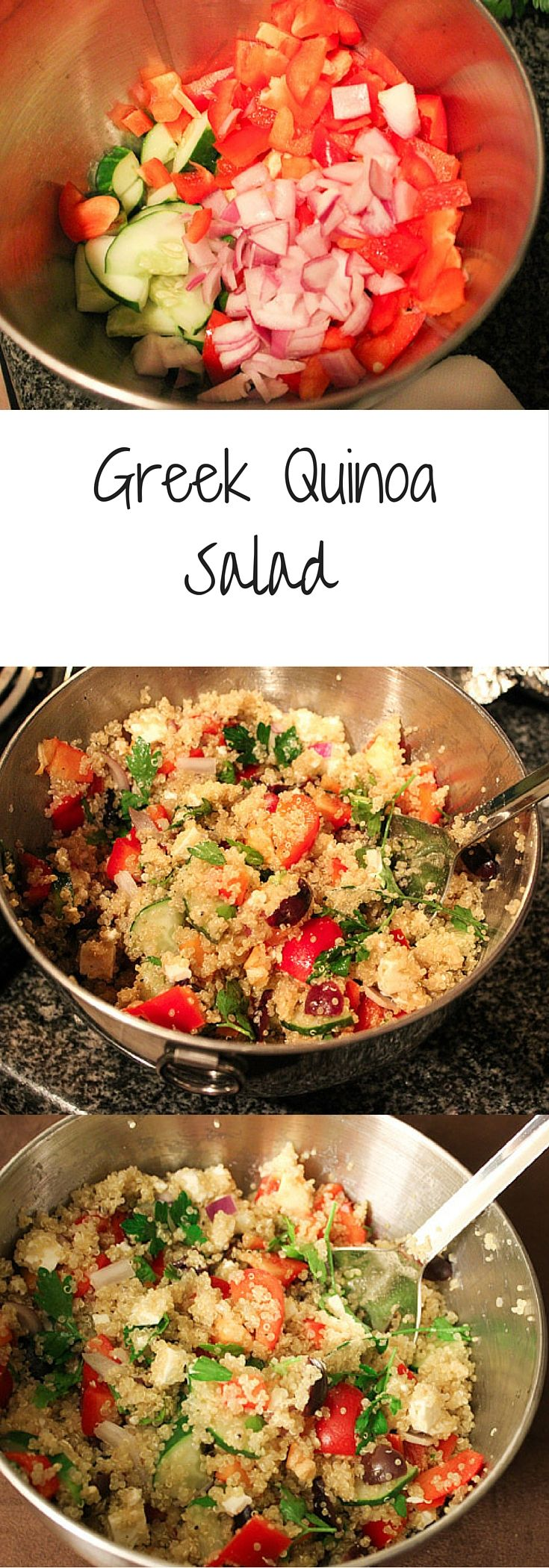 Greek Quinoa Salad. Healthy & easy dinner with a mediterranean spin.