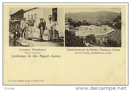 PORTUGAL, ACORES - Costumes, Banhos Thermaes, Lembranca, Undivided Back - 1900´s