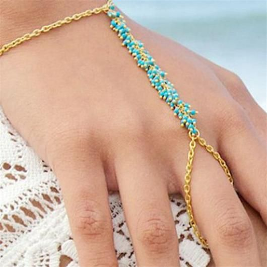 SEED BEADS FINGER FISH HOOK CHAIN LINK BRACELET - 2 COLORS-JEWELERY-TRYNKI