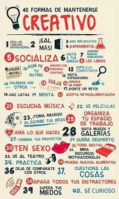 40 formas de mantenerse creativa :) #diy #manualidades #creatividad #tupuedes #behappy www.conideade.com