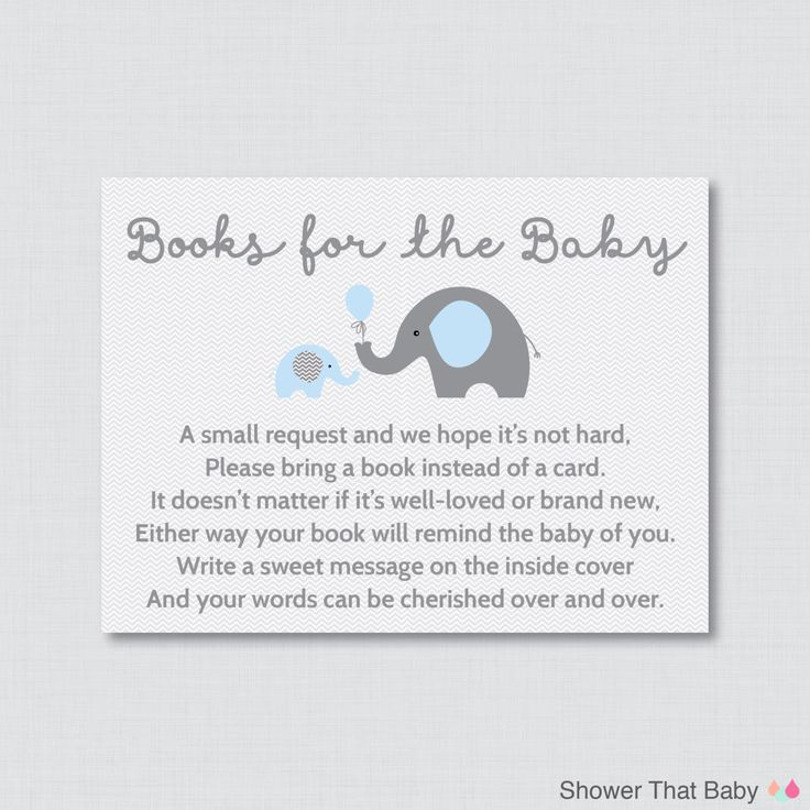 Elephant Baby Shower Bring a Book Instead of a Card Invitation Inserts - Instant Download - Blue and Gray Boy Baby Shower - Elephant by ShowerThatBaby on Etsy https://www.etsy.com/listing/203866516/elephant-baby-shower-bring-a-book