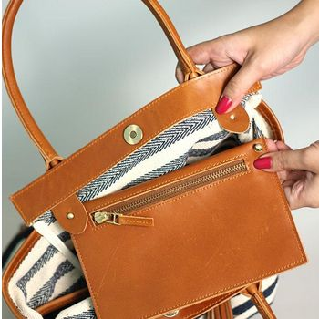 Canvas and Leather Tote with Detachable Clutch