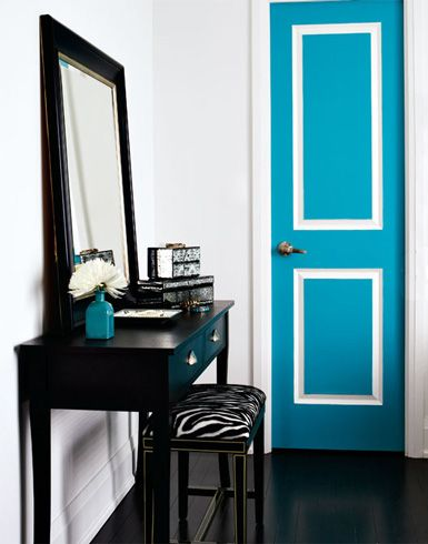 add a pop of color in otherwise neutral space by painting a door a fun color! <3 this