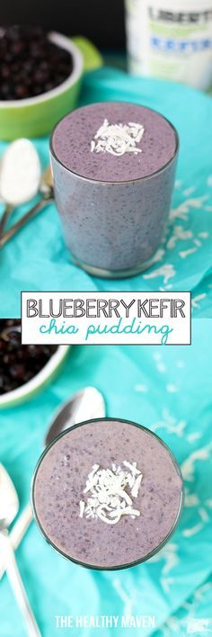 Blueberry Kefir Chia Pudding -combine two heart-healthy ingredients, kefir and chia seeds to make this delicious and flavorful dessert or snack recipe!